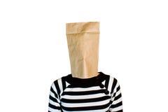 Femme d'affaires avec le sac de papier dans la tête Images libres de droits