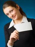 Femme d'affaires avec le signe photographie stock libre de droits