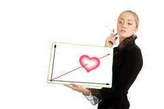 Femme d'affaires avec le tableau du jour de Valentine Photographie stock