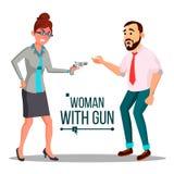 Femme d'affaires avec le vecteur d'arme à feu Concept de faillite Pointage, visant Illustration plate d'isolement illustration de vecteur
