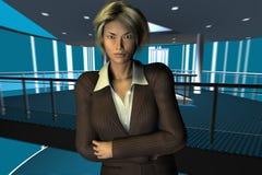 Femme d'affaires avec les bras pliés Images libres de droits