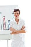 Femme d'affaires avec les bras pliés devant un panneau Photos stock