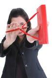 Femme d'affaires avec orienter de bloc-notes photographie stock libre de droits
