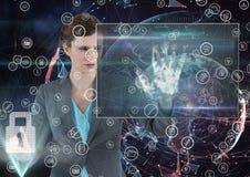 femme d'affaires avec sa main sur le scana de main et son autre main dans un bouton d'une serrure illustration stock