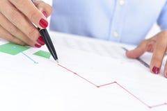 Femme d'affaires avec un diagramme avec une évolution à la baisse photos libres de droits