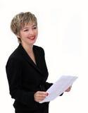 Femme d'affaires avec un papier Photos libres de droits