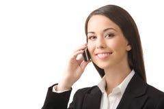 Femme d'affaires avec un téléphone. Photo stock