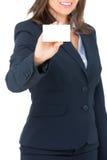 Femme d'affaires avec une carte de visite professionnelle de visite vide photo libre de droits