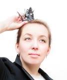 Femme d'affaires avec une tête sur une tête Image libre de droits
