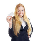 Femme d'affaires With Blank Card Image stock