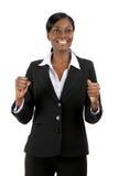 Femme d'affaires célébrant la réussite images libres de droits