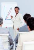 Femme d'affaires charismatique faisant une présentation Photo stock