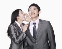 Femme d'affaires chuchotant à son collègue, riant, tir de studio Photographie stock