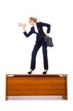 Femme d'affaires criant par le haut-parleur Images stock
