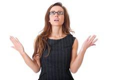 Femme d'affaires déçue d'isolement sur le blanc images libres de droits