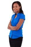 Femme d'affaires d'Afro-américain avec les bras pliés Image libre de droits