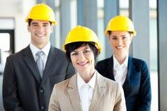 Femme d'affaires d'homme d'affaires de construction Photo stock