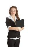 Femme d'affaires. D'isolement au-dessus du fond blanc Image stock