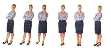 Femme d'affaires d'isolement sur différentes poses de blanc Image libre de droits