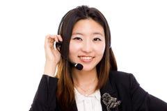 Femme d'affaires d'opérateur de centre d'attention téléphonique. Photo stock