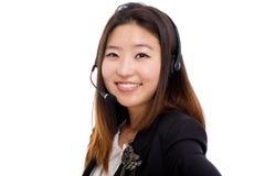 Femme d'affaires d'opérateur de centre d'attention téléphonique. Photo libre de droits