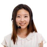 Femme d'affaires d'opérateur de centre d'attention téléphonique. Photographie stock libre de droits