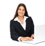 Femme d'affaires d'ordinateur portable Images stock