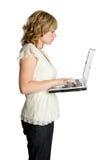 Femme d'affaires d'ordinateur portatif image stock