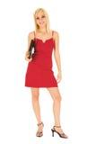 Femme d'affaires dans #123 rouge Images stock