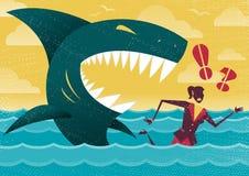 Femme d'affaires dans l'attaque dangereuse de requin illustration stock