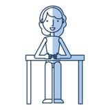Femme d'affaires dans l'icône de caractère d'avatar de table Images stock
