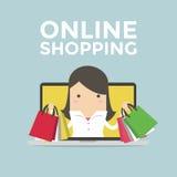 Femme d'affaires dans l'ordinateur portable d'ordinateur, concept en ligne d'achats illustration libre de droits
