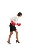 Femme d'affaires dans la pose de boxe Photo libre de droits