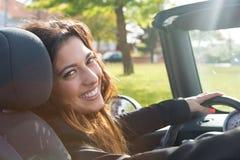 Femme d'affaires dans la voiture de sport Photographie stock libre de droits