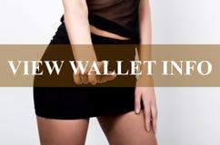 Femme d'affaires dans le bouton d'infos de portefeuille de vue de pressing de jupe courte d'un écran tactile échange et productio photographie stock libre de droits