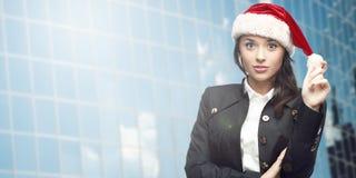 Femme d'affaires dans le chapeau de Santa Images libres de droits