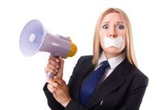 Femme d'affaires dans le concept de censure d'isolement Photographie stock libre de droits