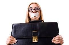 Femme d'affaires dans le concept de censure d'isolement Photos stock