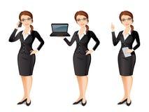 Femme d'affaires dans le costume noir dans différentes poses Images stock