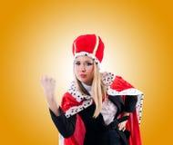 Femme d'affaires dans le costume royal contre le gradient Image libre de droits
