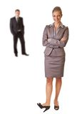 Femme d'affaires dans le procès avec l'homme d'isolement Photographie stock libre de droits