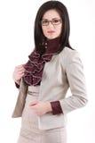 Femme d'affaires dans les glassses, d'isolement sur le fond blanc Image stock