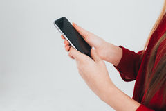 Femme d'affaires dans un chemisier rouge photographie stock libre de droits