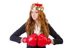 Femme d'affaires de boxeur de reine Photo stock