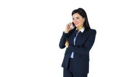 Femme d'affaires de brune au téléphone photo libre de droits
