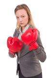 Femme d'affaires de femme avec des gants de boxe Image stock