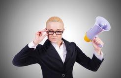 Femme d'affaires de femme avec le haut-parleur Photographie stock libre de droits