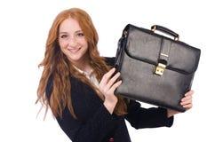 Femme d'affaires de femme dans le concept d'affaires d'isolement Images stock