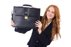 Femme d'affaires de femme dans le concept d'affaires d'isolement Photographie stock libre de droits