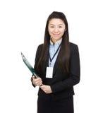 Femme d'affaires de l'Asie avec la protection de dossier images stock